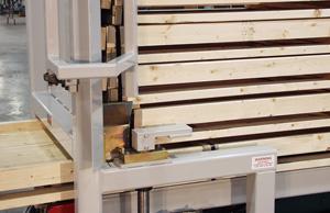 Closeup of a pallet dispenser feeding a pallet
