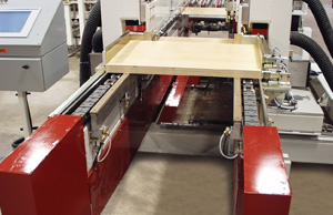 Double end tenoner automatically sizes panels and machines dados