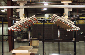 This turnover system will invert irregular stacks of panels with no setup