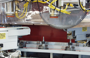 Automated Miter Saw in a Laminate Countertop Line