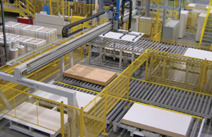Complete panel stacking system which includes integrated conveyors for individual panels as well as entire stacks