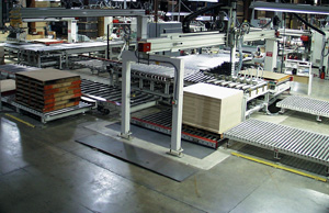 Automated panel stacking and pallet feeding
