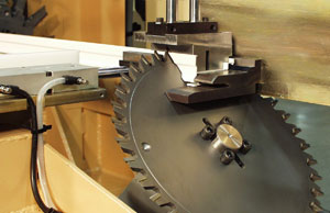 Closeup of one of the miter cutters
